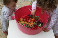 The Imagination Tree: Messy Play: Rainbow Spaghetti!