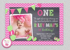 Apple Birthday Invitation   Green Apple of by TheTrendyButterfly #apple #pinkgreen #celebration #birthday