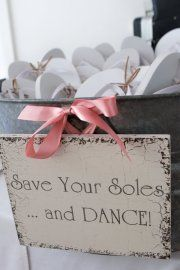 Give guest flip flops as a favor, great idea so everyone can party and dance the night away!   Cool Wedding idea!