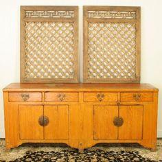"""80"""" Yellow / Orange Faux Woodgrain Pine Buffet Sideboard Cabinet"""