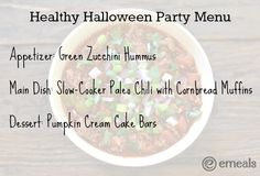 Healthy Halloween Party Menu - eMeals