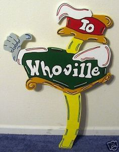 Whoville Direction Sign Christmas Yard Art Decoration