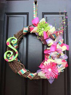 Monogram Spring Wreath  Spring Wreath  Summer by sarasboutiquebows, $55.00