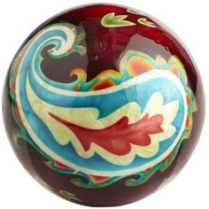 Pier 1 Red Paisley Capiz Sphere ~ get me a clear jar, I'm in love!