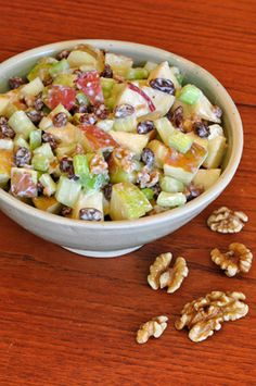 Waldorf Salad, great summer salad, good for picnics, easy to make, kids love it, great side dish or lunch treat, serve with sunshine roll ups! easy salads for lunch, easy picnic lunches, picnic food easy, easy picnic food, easy lunch recipes for kids, picnic lunches for kids, great picnic foods, summer salad, easy picnic salads