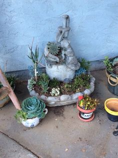 Old fountain repurposed for succulents