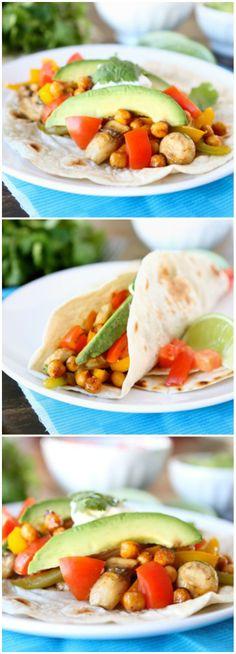 Roasted Chickpea Fajitas Recipe on twopeasandtheirpod.com Love these healthy vegetarian fajitas!