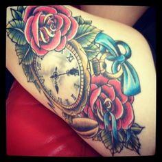 clock tattoo tattoo idea, first tattoo, alice in wonderland, tattoos, red roses, pocket watches, clock tattoo, clocks, ink