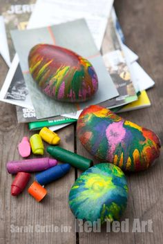 Sharing Gifts That Kids Can Make: Upcycle old crayons to make these fabulous rock paper weights. The kids ADORE the melting process and making these! Great fun. Great gifts.