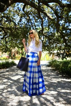 """Blogger Atlantic-Pacific looks """"island chic"""" in her Gap white oxford and patterned maxi skirt."""
