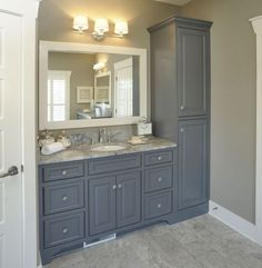 Do you like grey cabinets? #bathroom #vanity #linen #cabinets #storage
