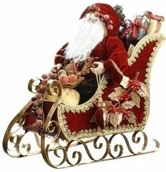"""15"""" Fabric Santa in Sleigh Christmas Accent Figure"""