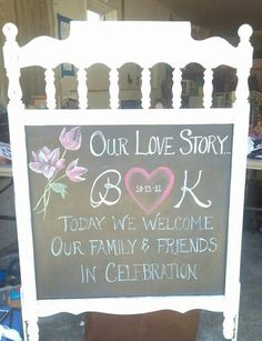 My cousin made this chalkboard from a baby crib! Love it and with the perfect saying for a family wedding!