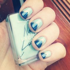 Navy, gold and mint #nails