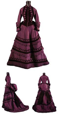 circa 1870 gown | Day dress, American, circa 1870-1875. Silk faille and velvet. Via ...