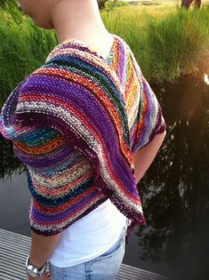 """Colour Affection' shawl knitted in random sock yarn, pattern available on Ravelry"