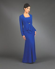 Mother of the Bride Dress by Ursula of Switzerland. 2 piece long Hi Twist Crepe long dress.