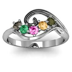 3 to 8 Stone Swirl Ring #jewlr $183