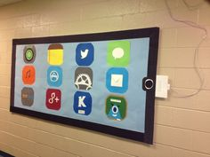 """""""Bulletin board made into an iPad. Got the idea from Pinterest. This is my final outcome."""""""