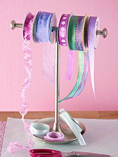 Use hand towel rack for ribbon storage