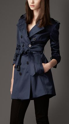 Mid-Length Stretch Cotton Trench Coat   Burberry