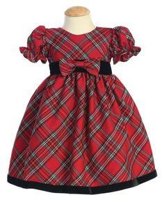 Amazon.com: Plaid Holiday/Christmas Baby Dress with Velvet Trim: Clothing