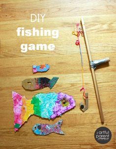 How to make a diy fishing game for kids from recycle bin materials