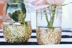 gold glitter dipped mason jars