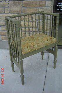 """From Cassandra Design: """"Green and Yellow Bench"""" made from a crib. Adorable."""