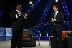 Pastor Joel and Pastor TD Jakes at the https://www.facebook.com/OrangeCountyConventionCenter