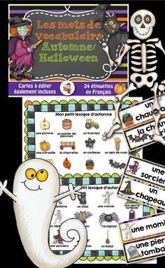 Voici 24 mots de vocabulaire sur le thème de l'automne/Halloween Ces affiches riches en couleur seront parfaites pour décorer vos classes cet automne! Exemples des mots : - une sorcière - un chaudron - un squelette - une botte de foin - une pierre tombale