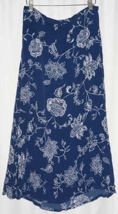 Chaus-Floral-Skirt-Maxi-Skirt-Blue-White-Size-1X