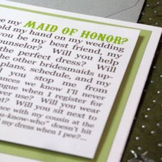 CUSTOM will you be my maid of honor card by Greencard on Etsy