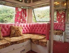 Vintage Floral Chic Gypsy Caravan Bedroom Wonder how my husband would feel if I did this to our rv?
