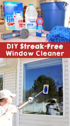 """This  is my favorite window washing concoction… no squeegeeing or drying required! Just wash, spray, and let Mother Nature take care of the rest! Homemade Streak-Free Window Cleaner  1/2 bottle of """"Jet Dry"""" (the bottle I bought was just under 7 ounces so I measured out 3.5 ounces)  4 Tablespoons Alcohol (I used rubbing alcohol….70% I believe)  1/4 Cup Ammonia  1 handful of powdered dish-washer soap (about 1/4 cup)  2 Gallons of Hot Water"""