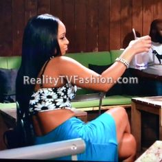 "Tahiry Jose's Black & White Flower Bustier Top on ""Love & Hip Hop New York"""