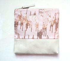 B A L L E T PINK Metallic Leather Clutch. Large Make Up Bag. Pink Sequin and Pearl Leather Clutch. $128.00, via Etsy.