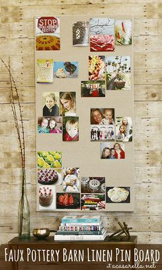 This Pottery Barn inspired pin board costs a fraction of the price and is made from items you can find at your local hardware store!  #DIYphotoProject, #Looksi and #Shutterfly