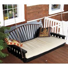 A Furniture Co. Fanback 5ft. Black Swinging Bed For Porch - 432