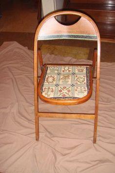 Antique oak folding chair $15