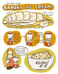 "Healthy frozen banana ""ice cream"" for dessert!"