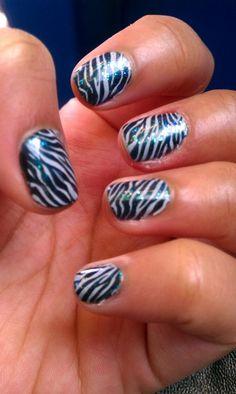 Glittery Zebra Nails