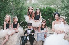 flower girls + ring bearer, photo by Jenavieve Belair http://ruffledblog.com/glam-ace-hotel-wedding #flowergirls #bridalparty