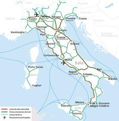 Mapa de la red ferroviaria en Italia