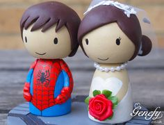 Cute superhero wedding cake topper - Bride and Groom (Spiderman)