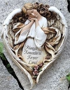 Always Remembered Forever Loved ~ Memorial Angel Plaque