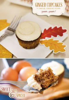 Ginger Cupcakes + Cream Cheese Icing {Recipe}