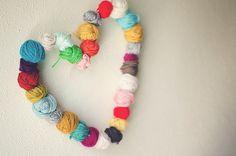DIY: hanging yarn heart