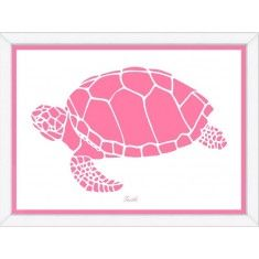 Pink Sea Turtle Framed Child's Wall Art-Available in a Variety of Sizes