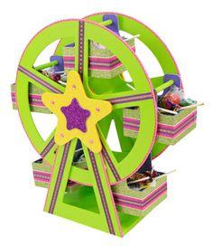 Rueda de la fortuna / Centro de mesa para fiestas infantiles / Despachador de dulces / Verde